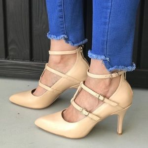 Nubuck Leather slender straps pointy toe stilettos